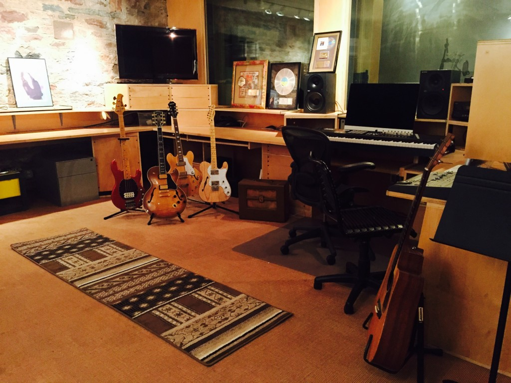 Ed's lovely collection of guitar in his recording room at BMS Studio